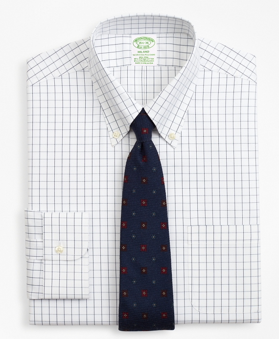 Stretch Milano Slim-Fit Dress Shirt, Non-Iron Windowpane Sodalite