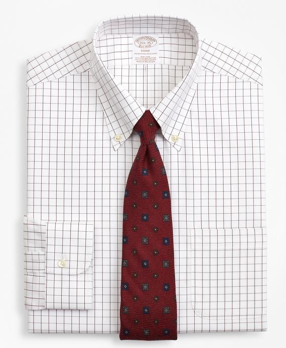 Stretch Soho Extra- Slim-Fit Dress Shirt, Non-Iron Windowpane Wine