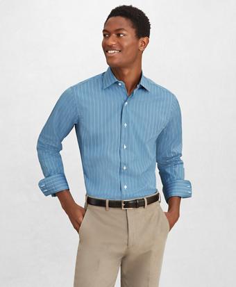 Golden Fleece® Regent Fitted Dress Shirt, English Collar Thin Stripe