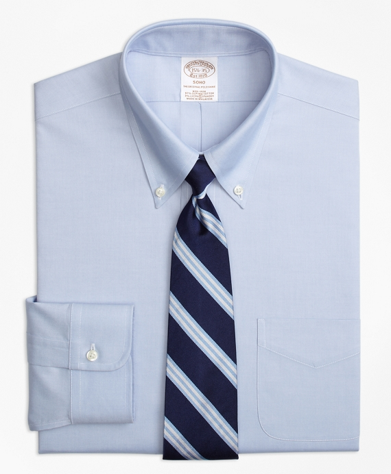 Stretch Soho Extra-Slim Fit Dress Shirt, Non-Iron Pinpoint Button-Down Collar Blue