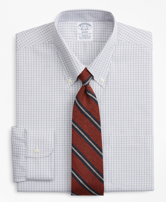 Stretch Regent Fitted Dress Shirt, Non-Iron Grid Check Fig