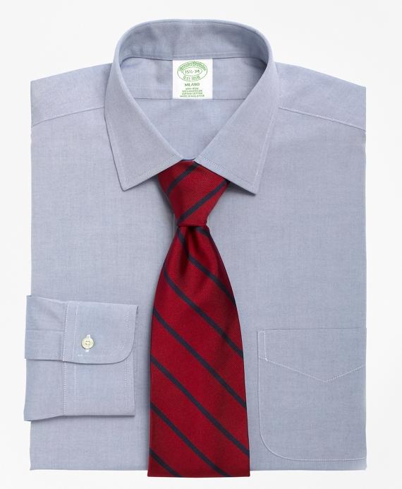 Milano Slim-Fit Dress Shirt, Non-Iron Spread Collar Blue