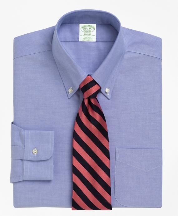 BrooksCool® Milano Slim-Fit Dress Shirt, Non-Iron Button-Down Collar Blue