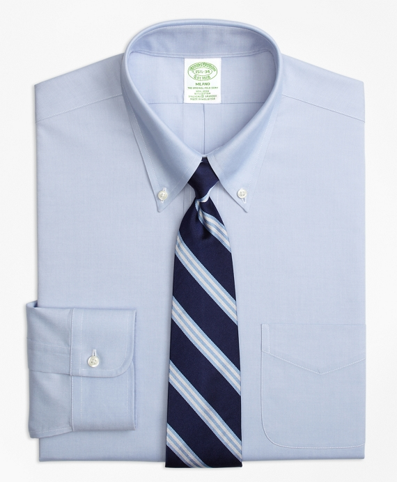 Stretch Milano Slim-Fit Dress Shirt, Non-Iron Pinpoint Button-Down Collar Blue
