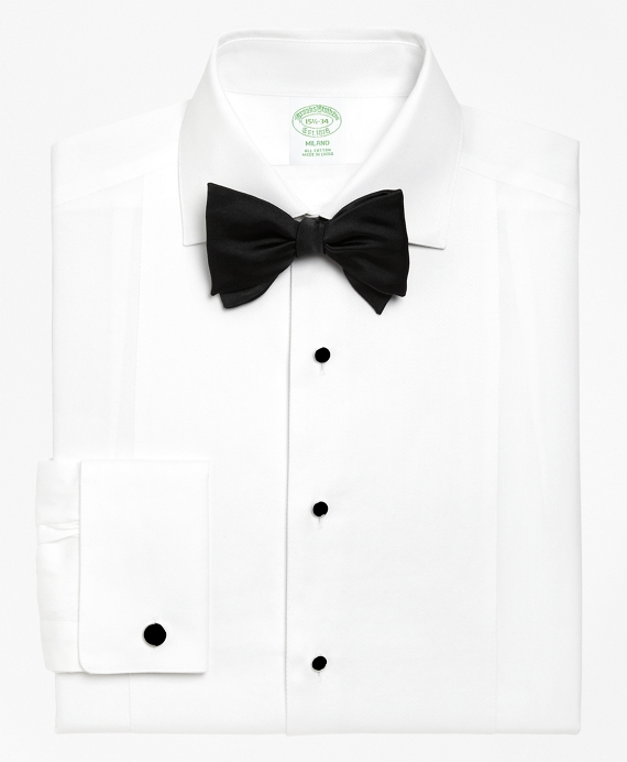Milano Fit Bib-Front Spread Collar Tuxedo Shirt White