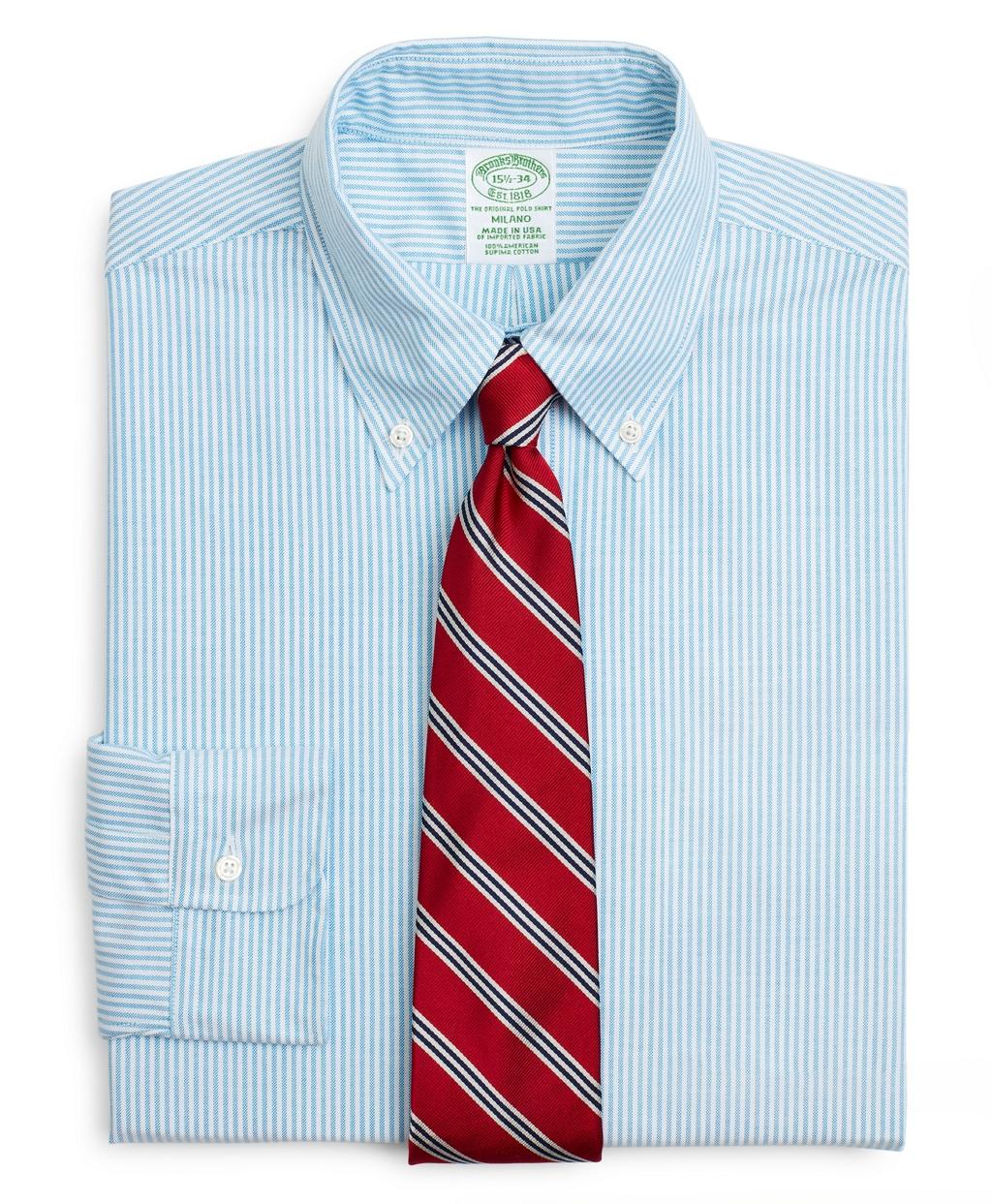 1920s Men's Dress Shirts Brooks Brothers Mens Original Polo Button-Down Oxford Extra Slim Slim-Fit Dress Shirt Stripe $140.00 AT vintagedancer.com