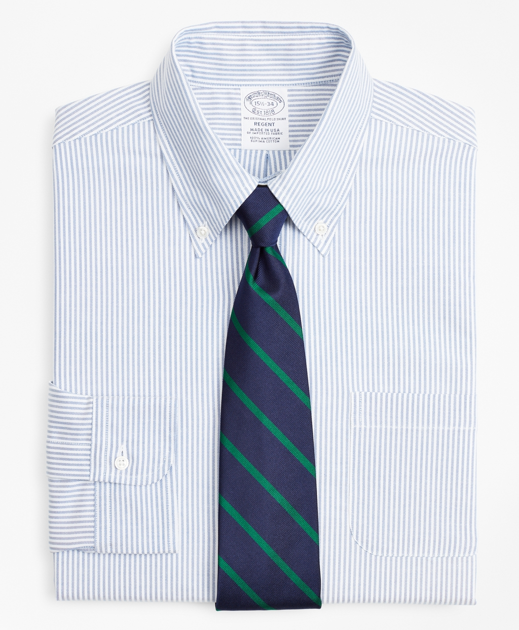 1920s Men's Dress Shirts Brooks Brothers Mens Original Polo Button-Down Oxford Slim Fitted Dress Shirt Stripe $140.00 AT vintagedancer.com