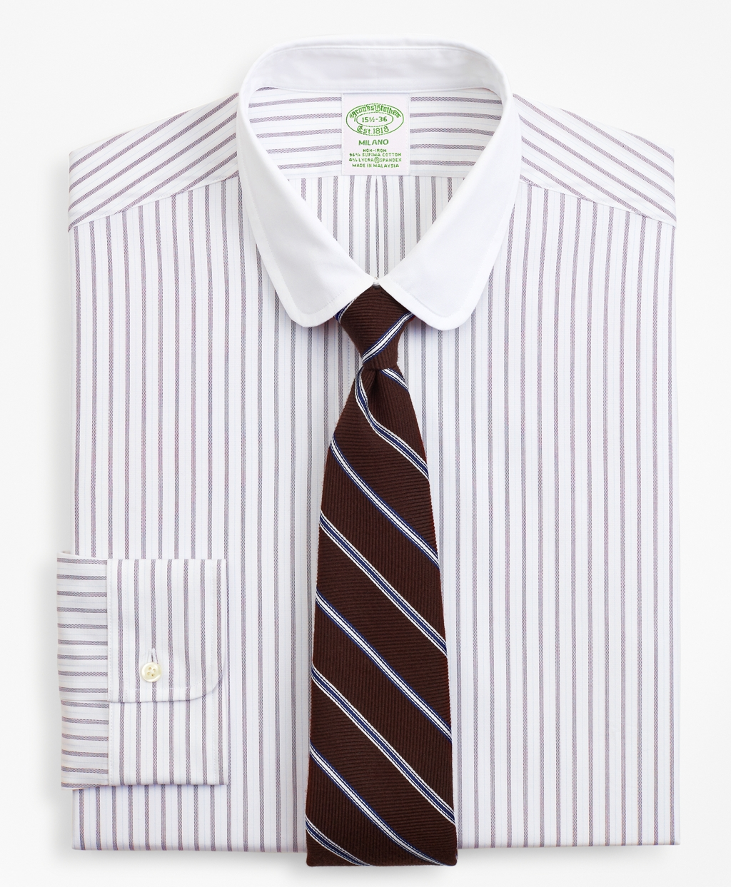 1920s Style Men's Shirts | Peaky Blinders Shirts and Collars Brooks Brothers Mens Stretch Milano Slim-Fit Dress Shirt Dotted-Stripe $98.00 AT vintagedancer.com