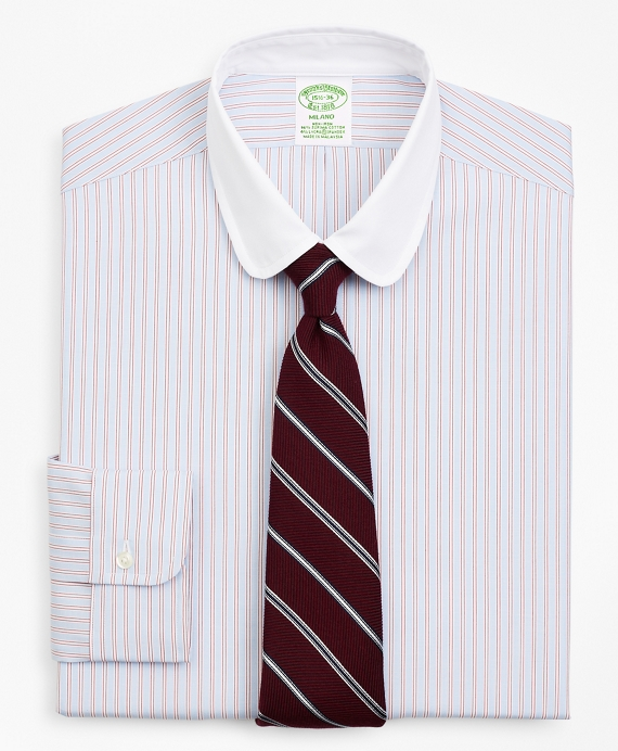 Stretch Milano Slim-Fit Dress Shirt, Double-Stripe Red