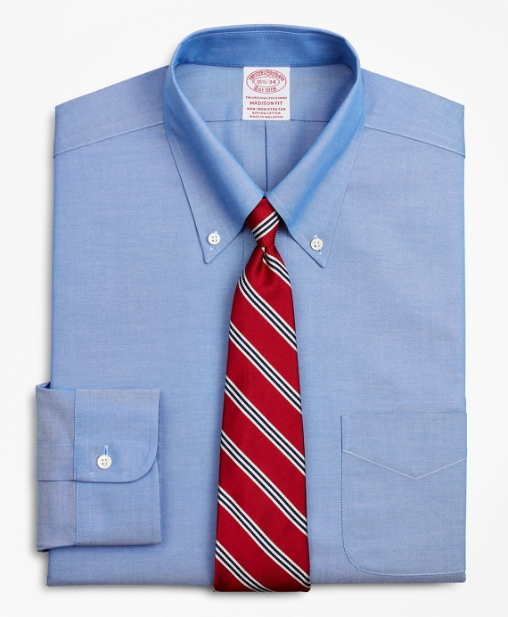 Stretch Madison Relaxed-Fit Dress Shirt, Non-Iron Pinpoint Button-Down Collar Blue