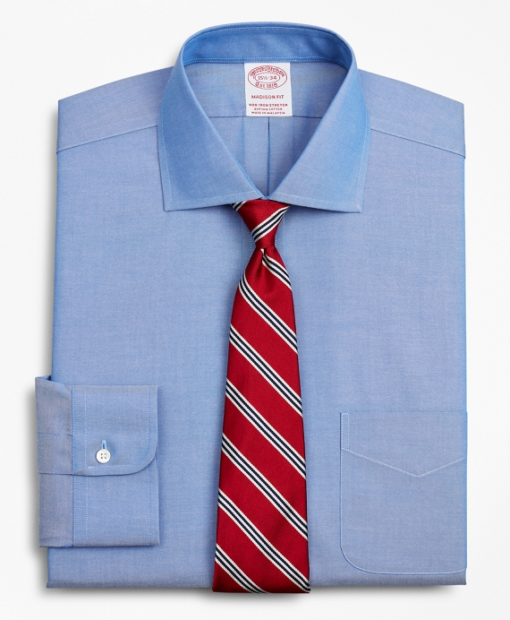 Stretch Madison Relaxed-Fit Dress Shirt, Non-Iron Pinpoint English Collar Blue