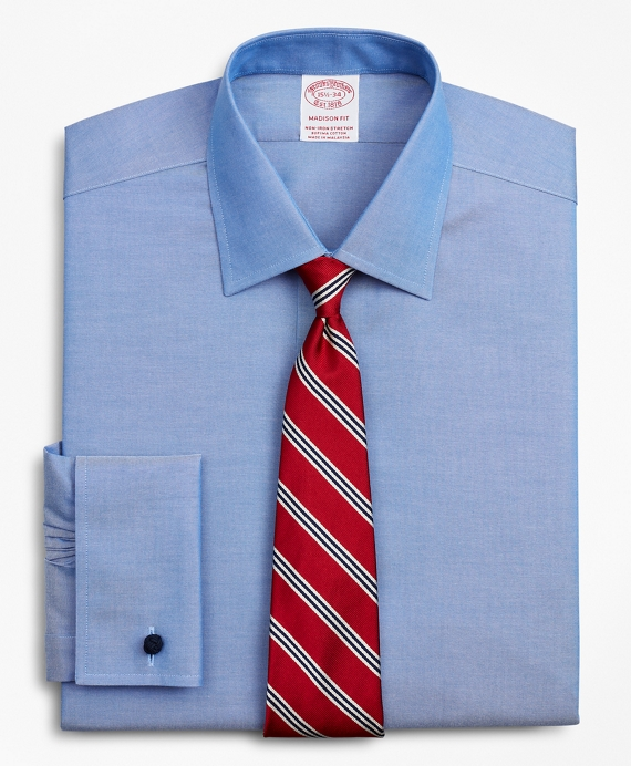 Stretch Madison Relaxed-Fit Dress Shirt, Non-Iron Pinpoint Ainsley Collar French Cuff Blue