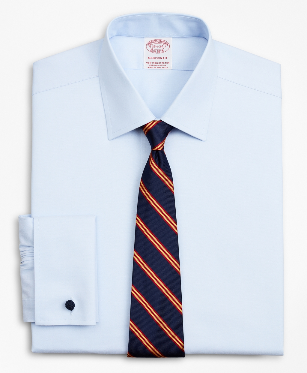 Brooksbrothers Stretch Madison Relaxed-Fit Dress Shirt, Non-Iron Pinpoint Ainsley Collar French Cuff