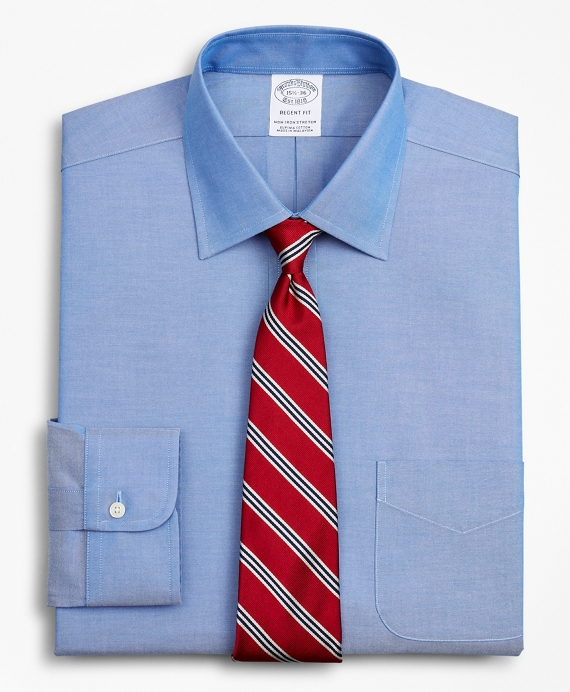 Stretch Regent Fitted Dress Shirt, Non-Iron Pinpoint Ainsley Collar Blue