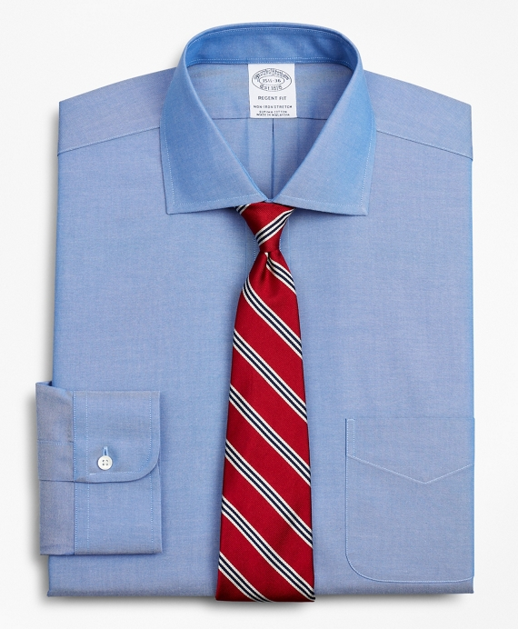 Stretch Regent Fitted Dress Shirt, Non-Iron Pinpoint English Collar Blue