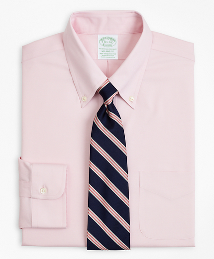 Stretch Milano Slim-Fit Dress Shirt, Non-Iron Pinpoint Button-Down Collar