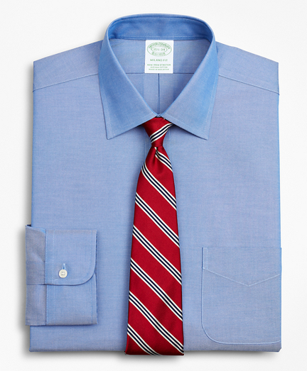 Brooksbrothers Stretch Milano Slim-Fit Dress Shirt, Non-Iron Pinpoint Ainsley Collar