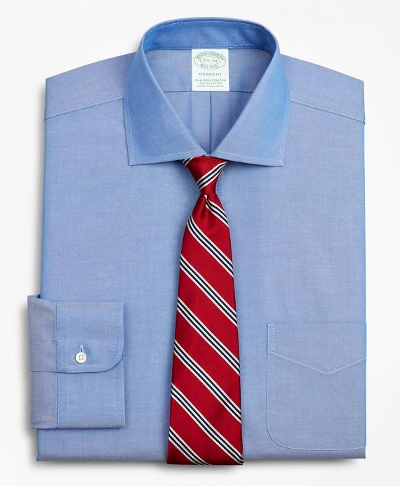 Stretch Milano Slim-Fit Dress Shirt, Non-Iron Pinpoint English Collar Blue