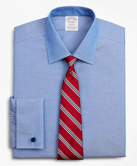 Stretch Soho Extra-Slim-Fit Dress Shirt, Non-Iron Pinpoint Ainsley Collar French Cuff Blue