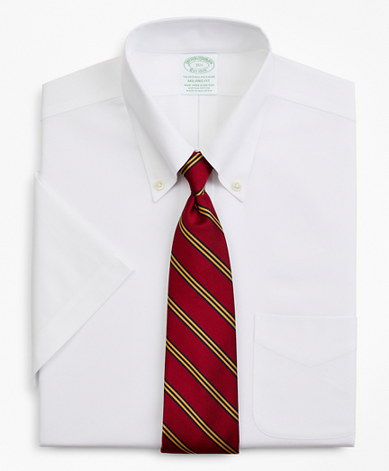 Stretch Milano Slim-Fit Dress Shirt, Non-Iron Pinpoint Short-Sleeve