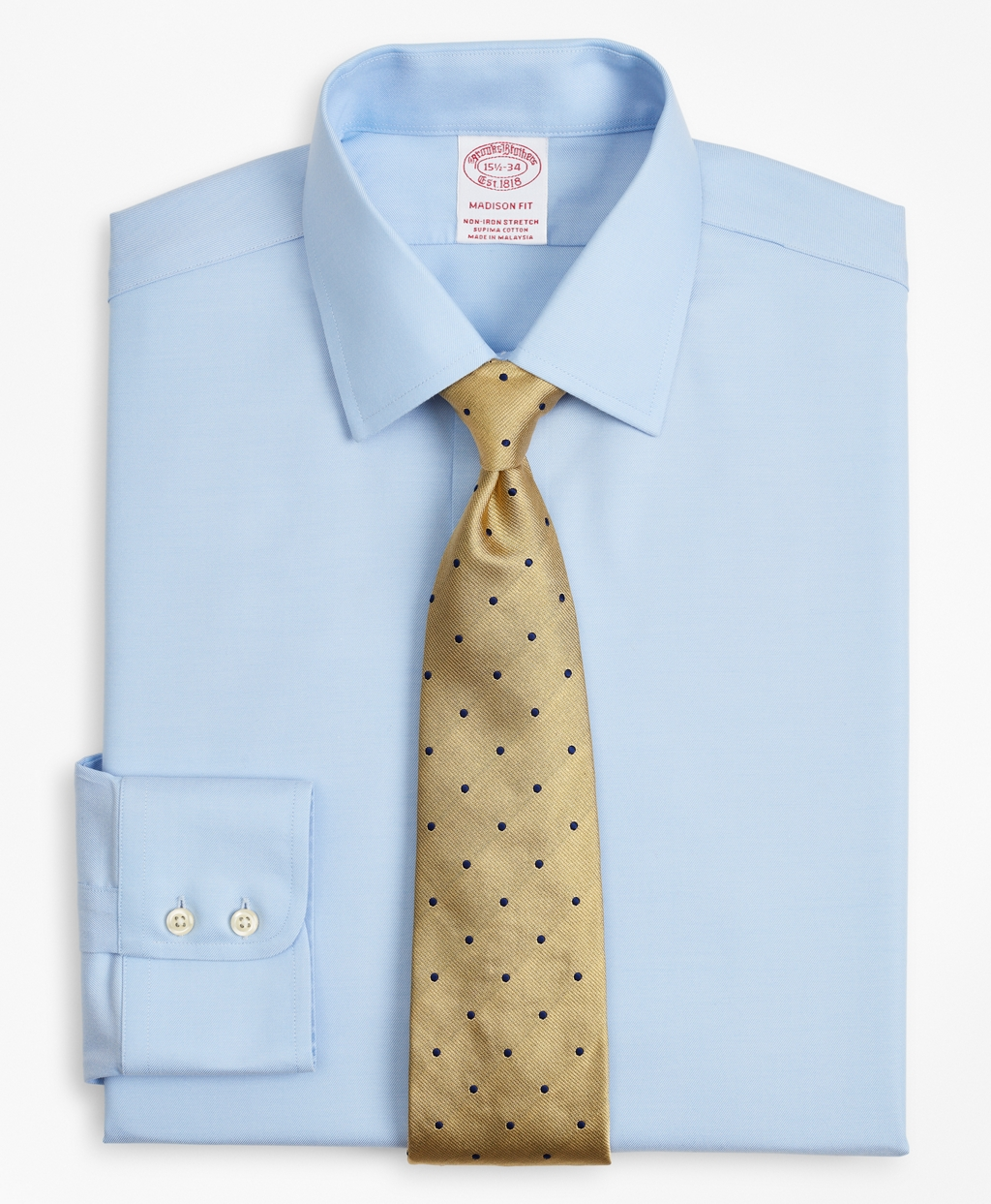 Brooksbrothers Stretch Madison Relaxed-Fit Dress Shirt, Non-Iron Twill Ainsley Collar