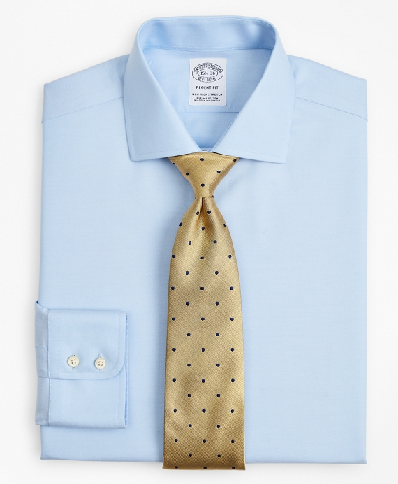 Stretch Regent Fitted Dress Shirt, Non-Iron Twill English Collar Light Blue