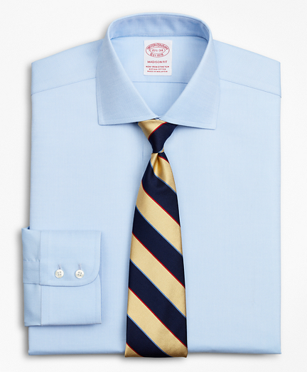 Stretch Madison Relaxed-Fit Dress Shirt, Non-Iron Royal Oxford English Collar