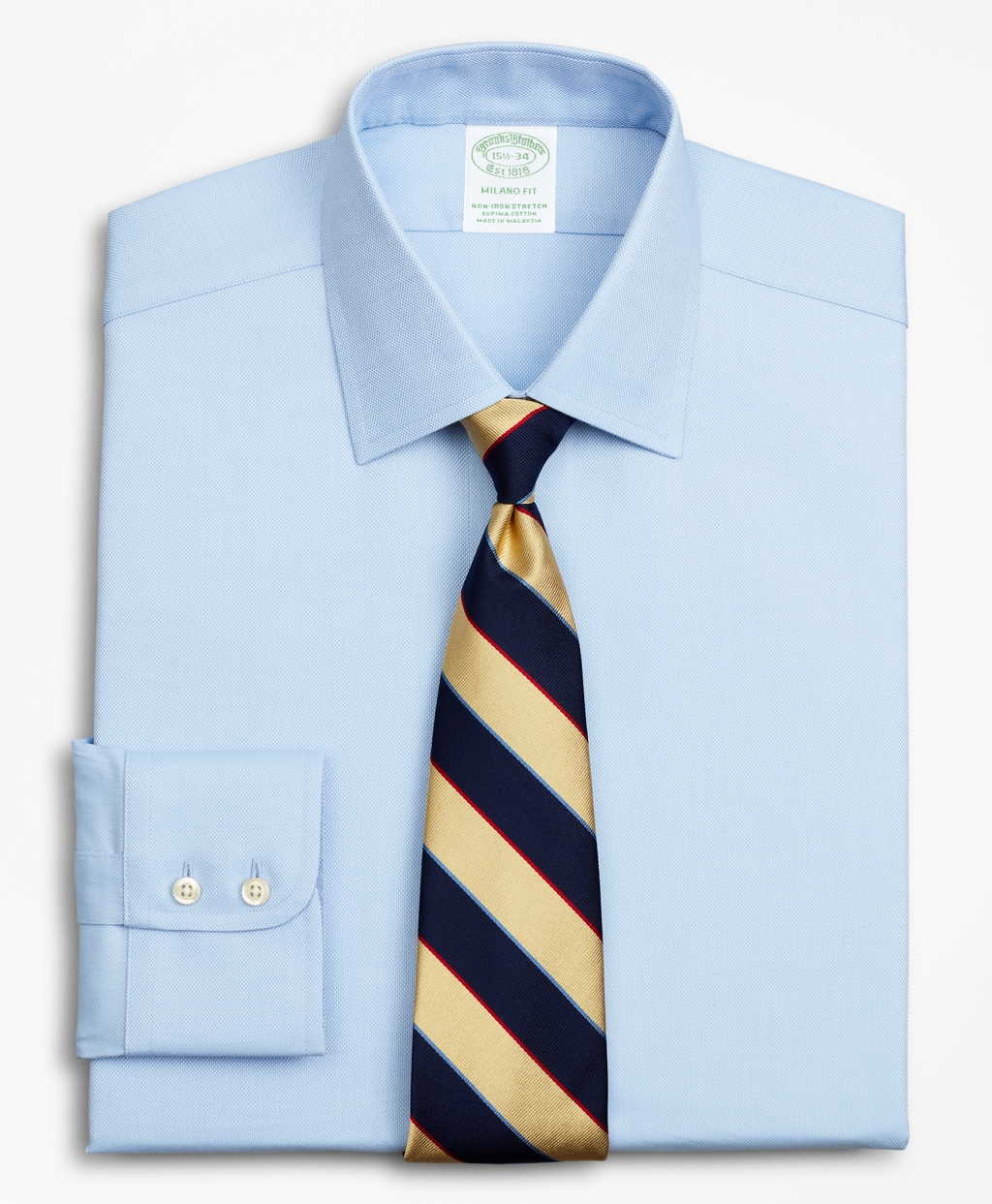 Brooksbrothers Stretch Milano Slim-Fit Dress Shirt, Non-Iron Royal Oxford Ainsley Collar