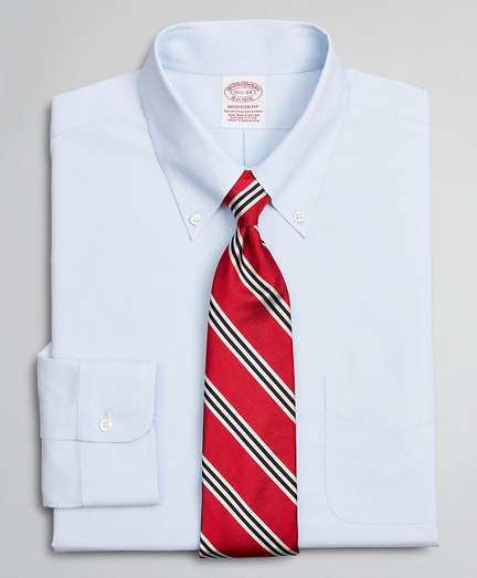 Stretch Madison Classic-Fit Dress Shirt, Non-Iron Poplin Button-Down Collar End-on-End
