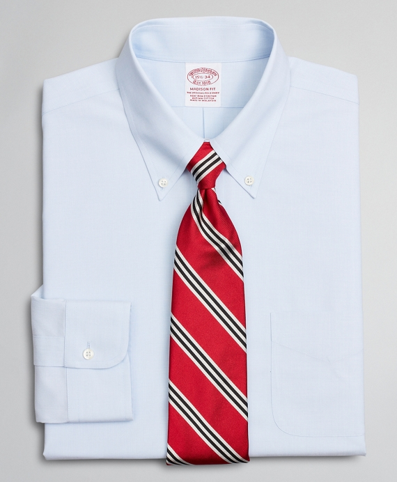 Stretch Madison Classic-Fit Dress Shirt, Non-Iron Poplin Button-Down Collar End-on-End Light Blue