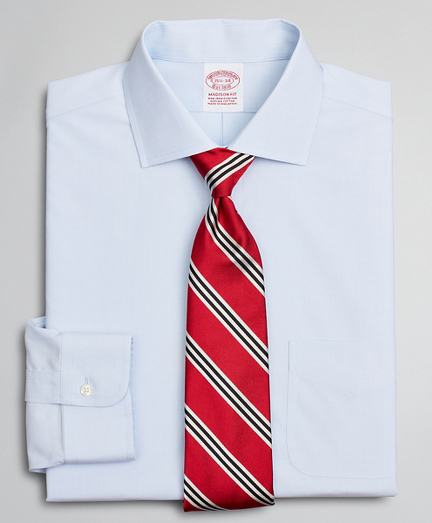 Stretch Madison Relaxed-Fit Dress Shirt, Non-Iron Poplin English Collar End-on-End