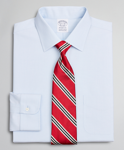 Stretch Regent Fitted Dress Shirt, Non-Iron Poplin Ainsley Collar End-on-End