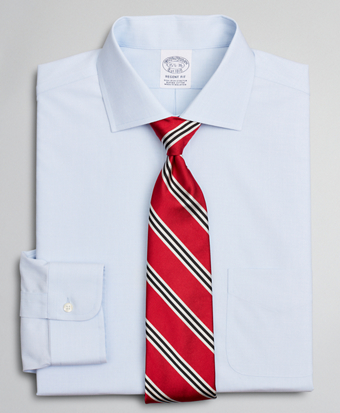 Stretch Regent Fitted Dress Shirt, Non-Iron Poplin English Collar End-on-End