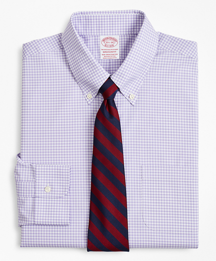Stretch Madison Classic-Fit Dress Shirt, Non-Iron Poplin Button-Down Collar Gingham
