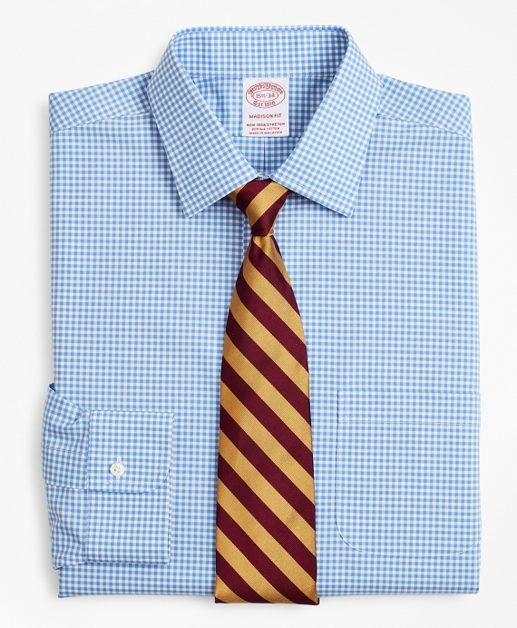 Stretch Madison Classic-Fit Dress Shirt, Non-Iron Poplin Ainsley Collar Gingham Blue