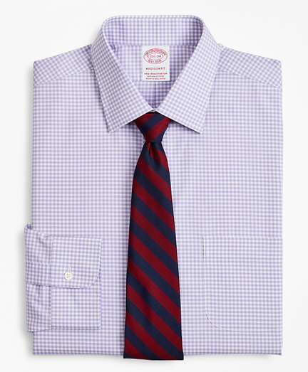 Stretch Madison Relaxed-Fit Dress Shirt, Non-Iron Poplin Ainsley Collar Gingham
