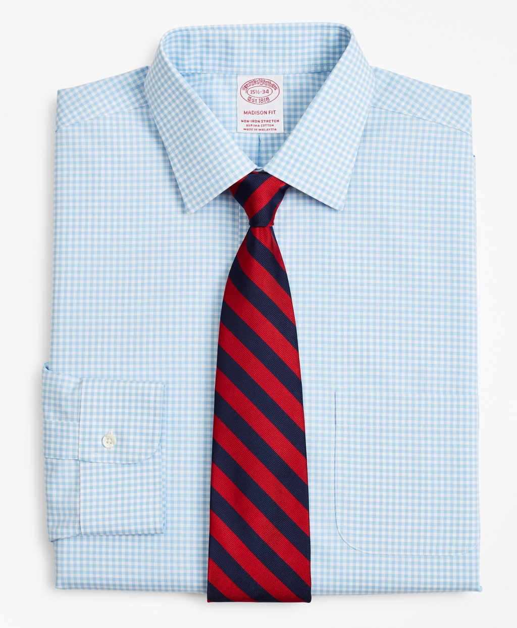 Brooksbrothers Stretch Madison Relaxed-Fit Dress Shirt, Non-Iron Poplin Ainsley Collar Gingham
