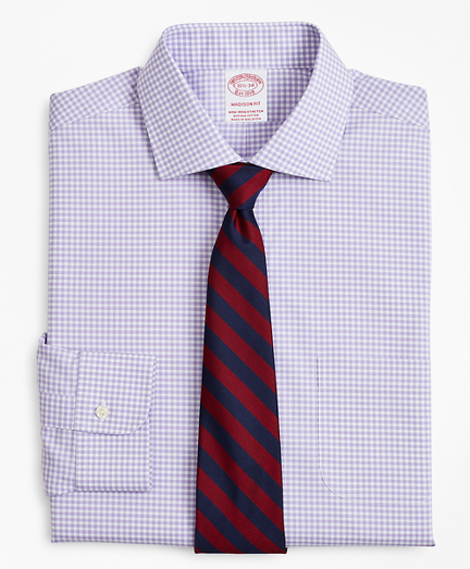 Brooksbrothers Stretch Madison Classic-Fit Dress Shirt, Non-Iron Poplin English Collar Gingham