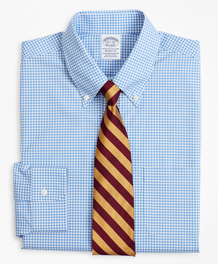 Stretch Regent Fitted Dress Shirt, Non-Iron Poplin Button-Down Collar Gingham