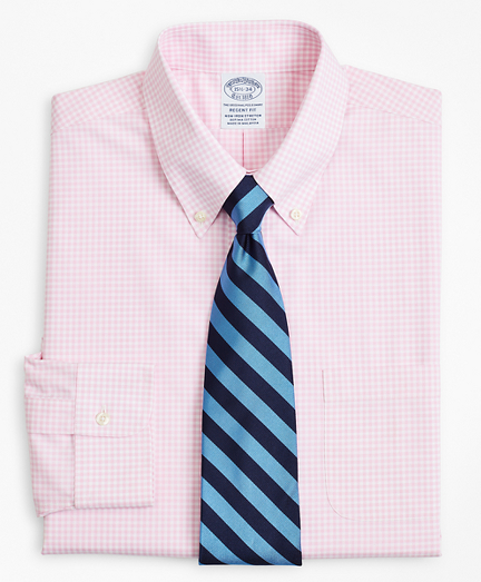 Brooksbrothers Stretch Regent Fitted Dress Shirt, Non-Iron Poplin Button-Down Collar Gingham
