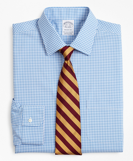 Stretch Regent Fitted Dress Shirt, Non-Iron Poplin Ainsley Collar Gingham