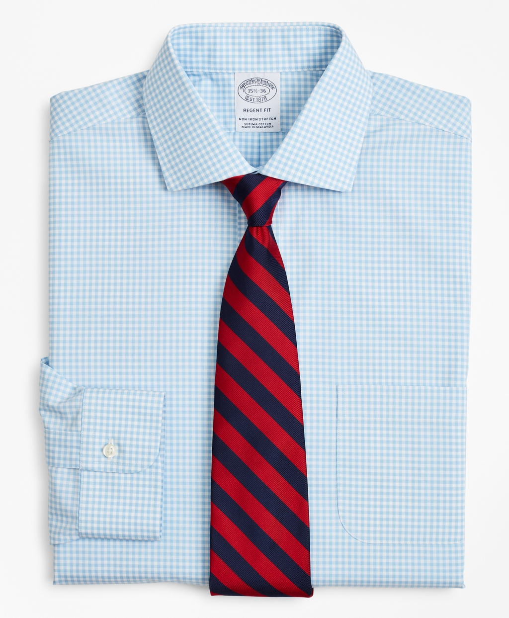 Brooksbrothers Stretch Regent Regular-Fit Dress Shirt, Non-Iron Poplin English Collar Gingham