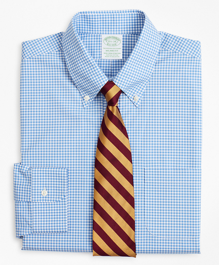Stretch Milano Slim-Fit Dress Shirt, Non-Iron Poplin Button-Down Collar Gingham