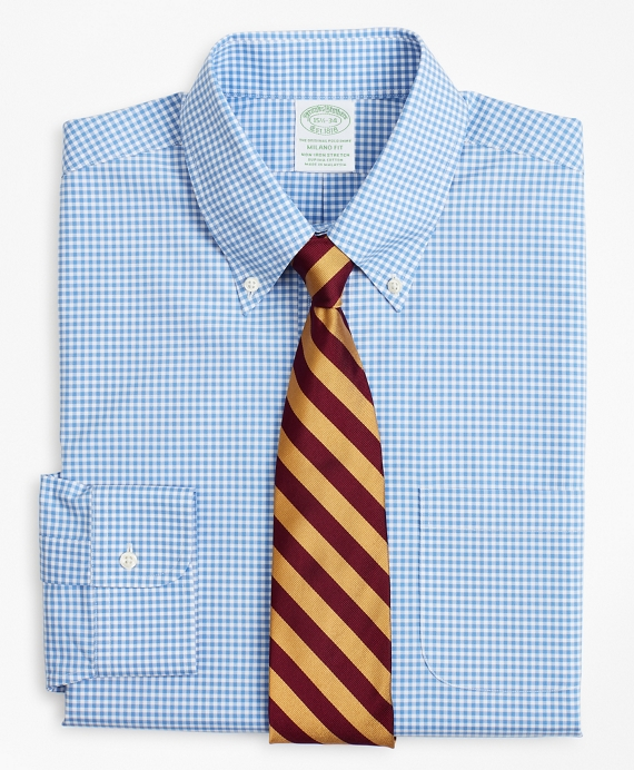 Stretch Milano Slim-Fit Dress Shirt, Non-Iron Poplin Button-Down Collar Gingham Blue