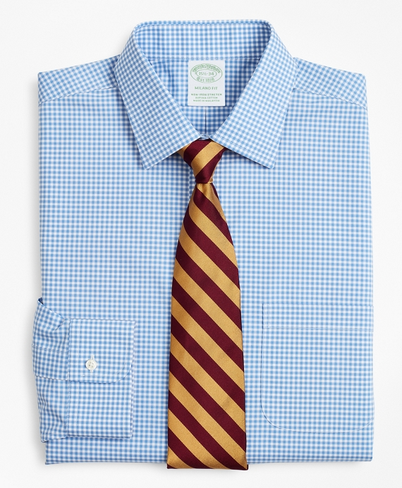 Stretch Milano Slim-Fit Dress Shirt, Non-Iron Poplin Ainsley Collar Gingham Blue