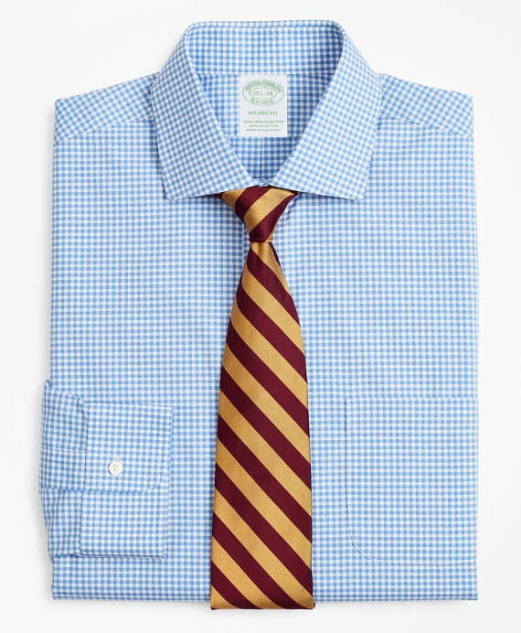 Stretch Milano Slim-Fit Dress Shirt, Non-Iron Poplin English Collar Gingham Blue