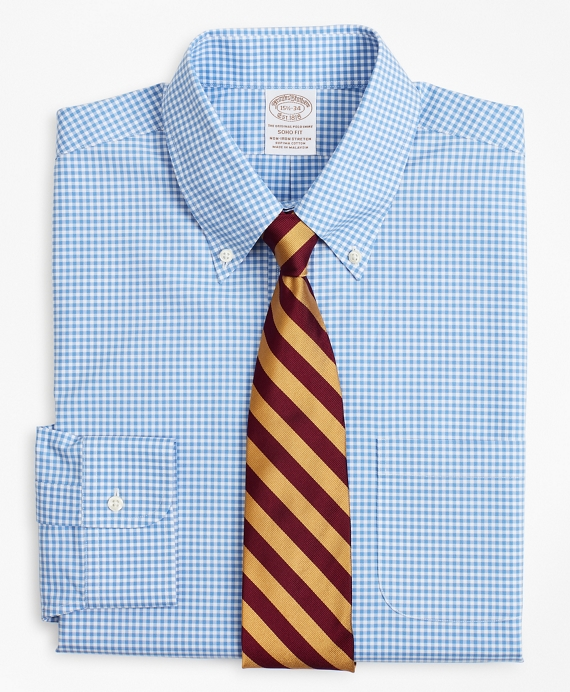 Stretch Soho Extra-Slim-Fit Dress Shirt, Non-Iron Poplin Button-Down Collar Gingham Blue