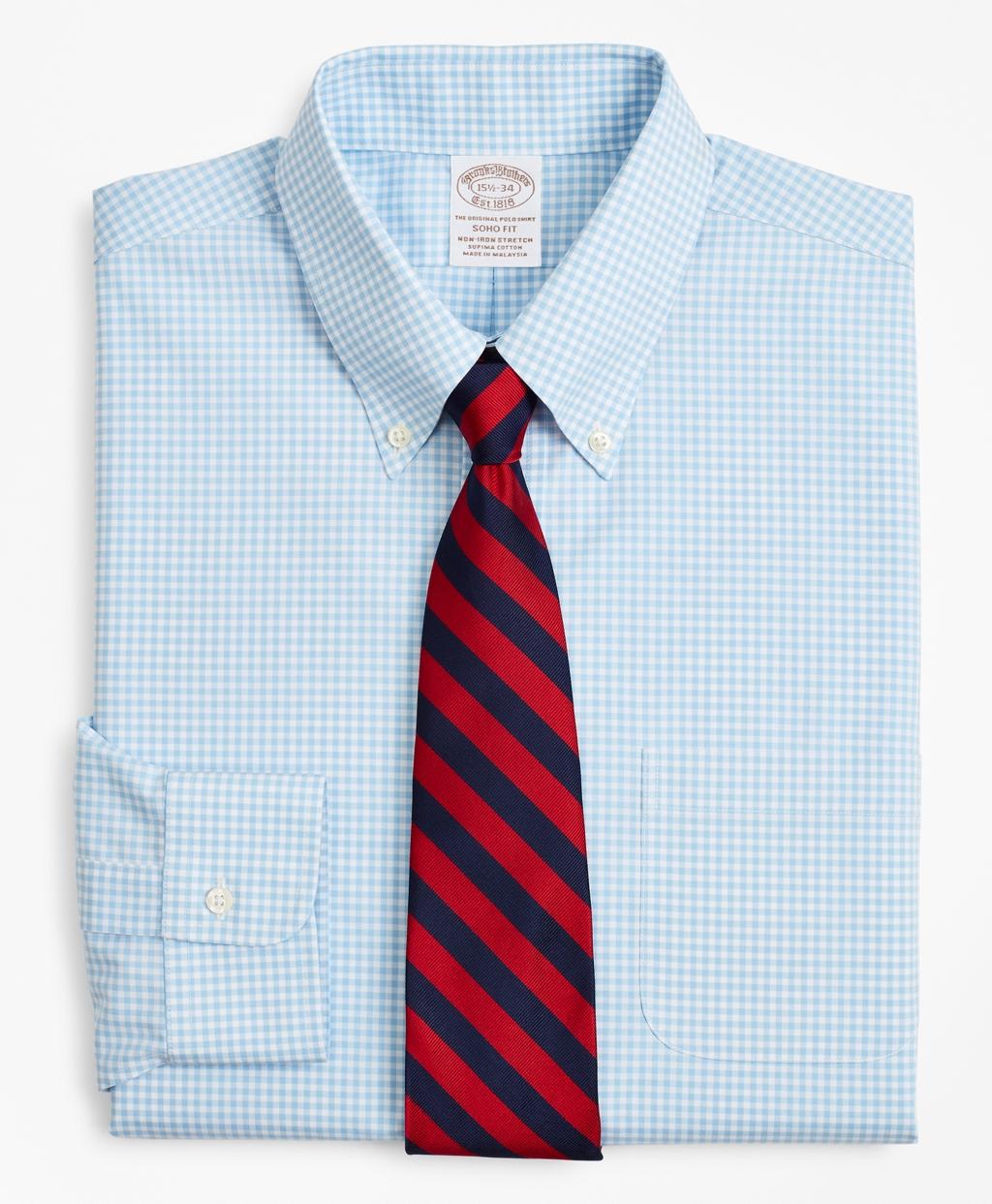 Brooksbrothers Stretch Soho Extra-Slim-Fit Dress Shirt, Non-Iron Poplin Button-Down Collar Gingham