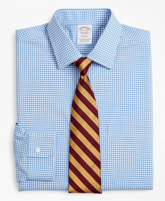 Stretch Soho Extra-Slim-Fit Dress Shirt, Non-Iron Poplin Ainsley Collar Gingham Blue