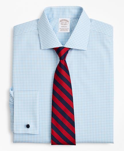 Stretch Soho Extra-Slim-Fit Dress Shirt, Non-Iron Poplin English Collar French Cuff Gingham
